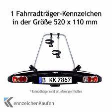 1 Fahrradträger-Kennzeichen in der Größe 520 mm x 110 mm