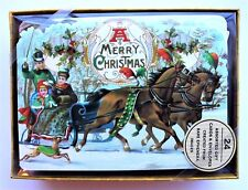 *PUNCH STUDIO Box of 24 Die Cut Blank Christmas Note Cards ~ Old World Victorian