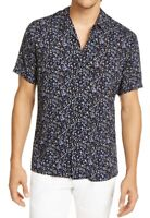 INC Mens Shirt Black Blue Medium M Ditsy Floral Notch-Collar Button Down $55 282