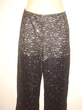 Donna Nuovo di Zecca Pizzo Nero Pantaloni trouserswith Glitter Pantaloncini Taglia 8