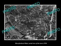 OLD LARGE HISTORIC PHOTO OF HAVERFORDWEST WALES, AERIAL VIEW OF TOWN c1950 3