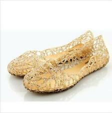 Womens Gold Ventilate Crystal Shoes Jelly Hollow Out Sandals Flat Boats US5