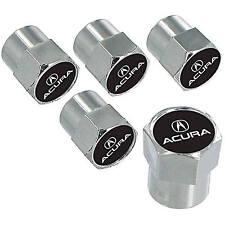 Acura Black Logo And Name Chrome Tire Stem Valve Caps Set