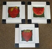 VTG FOLK ART FRAMED FRUIT PRINTS PICTURES SIGNED NUMBERED SET OF 3 VGC MODERN