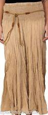 100% Cotton Adini Khaki Skirt with Macrame and Bead Belt in Acid Wash  Large
