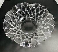 "Vintage Clear Glass Serving Bowl Wavy Scalloped Drop Edge Diamond Design 12"""