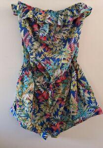 Dotti Size 14 Euc Strapless Jumpsuit Playsuit Tropical Print elastic Print
