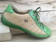 Born Womens Green Tan Hawkeye W7578 Leather Lace up Casual Oxfords US 8 EUR 39
