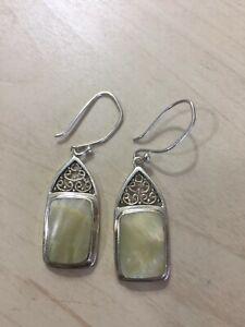 Genuine Sterling Silver 925 Off White Mother Of Pearl Hook Drop Dangle Earrings