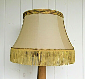 """Taupe Floor Lamp Large Drum Shade With Rope Braid Gold Fringe, 20"""" Spider Fitter"""
