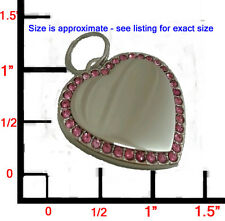 LARGE Designer Bling Pink CZ Silver Heart Pet ID Dog Tag Charm! FREE ENGRAVING!