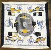 New HERMES Les Voitures a Transformation scarf 90 100% Silk Scarf France