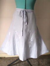BNWT NEXT PALE BLUE LINEN EMBROIDERED SWISHY SKIRT - Size 20 RRP £29.99
