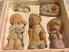 Preowned In Orig. Box Homco Nativity Children # 5502 5 piece ceramic figurines