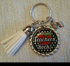 TEACHER ROCK key chain!!!MUST SEE!!GREAT END IF YEAR GIFT.
