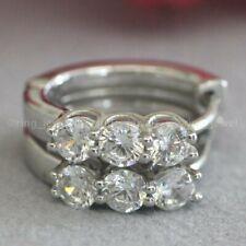 14K White Gold 1.50 Ct Round Cut VVS1 Diamond Huggie Hoop Earrings For Women's