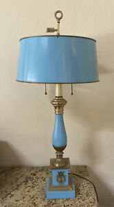 Vintage Warren Kessler NY Neo-Classical French Blue & Brass Lamp Toleware
