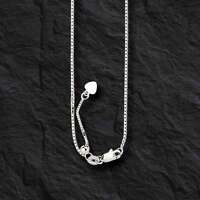 "14k WHITE Gold 30"" Adjustable Box Pendant Chain/Necklace  4 gram"