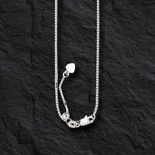 "14k WHITE Gold 22"" Adjustable Box Pendant Chain/Necklace 1.1MM 4 gram"