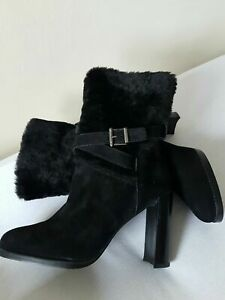 Stuart Weitzman suede ankle boots lining sheepskin black color size 7  RRP £629