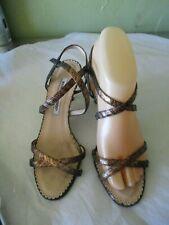 Manolo Blahnik Bronze Strappy High Heels Shoes sz 36 1/2