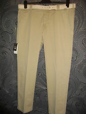 Meyer 'roma' Comfort Stretch Beige Lightweight Chino Trousers Belt 38w X 30l