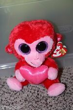 "Ty Beanie Boos ~ CHARMING the 6"" Valentine Monkey ~ 2013 - MINT with MINT TAGS"