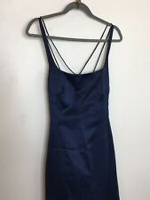 Nicole Miller Evening Gown Dress Size 12 Navy Blue Satin NWT $330