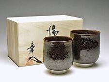 YUNOMI pair japanese tea cup ARITA porcelain yaki SHIN-EMON YUTEKI TENMOKU w/box