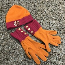 Tory Burch 100% Cashmere Hat and gloves pink orange runs smaller