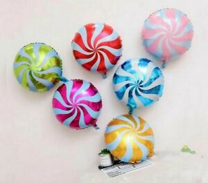 6x Multi Colour Swirl Candy Balloons Foil Party Balloons Birthday Anniversary UK