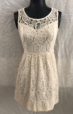671c185bfc Juniors Girl Forever 21 Gorgeous Off-White Ivory Lace Dress Black Tie Belt  Large