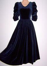 Laura Ashley vintage navy velvet medieval princess festive occasion dress 14 UK