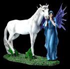 Elfen Figur - Mythica mit Einhorn - Fantasy Fee Elfe Pferd Deko