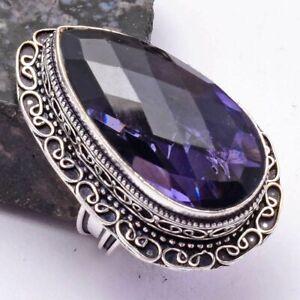 Amethyst Ethnic Handmade Antique Design Ring Jewelry US Size-7.5 AR 38934
