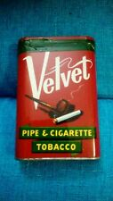 Vintage velvet pipe and cigarette tobacco tin