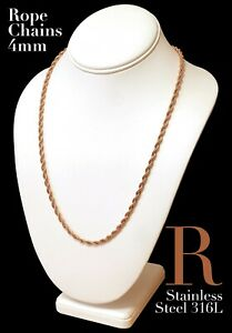 Rose Gold Plated Stainless Steel 316L 2mm 3mm 4mm Rope Chain Necklace 14in-30in