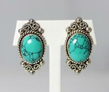 Silver Turquoise Earrings - 214 Beautiful Handmade Mexico Taxco Tf-31 Sterling