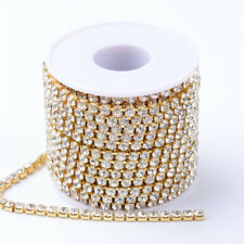 1 Roll Brass Rhinestone Strass Chains Rhinestone Crystal Golden Cup Chains 2mm