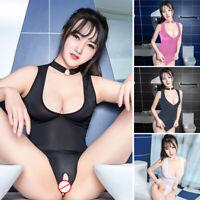 Womens Bodycon Bodysuit Slim Fit Romper Tight Sheer Summer Halter Neck Lingerie