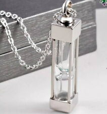 Stainless Perfume Memorial Necklace Pendant vial Locket Crystal Hourglass Bottle