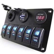 12V Car Marine Boat 6-Gang Waterproof Circuit LED Rocker Switch Panel Breaker