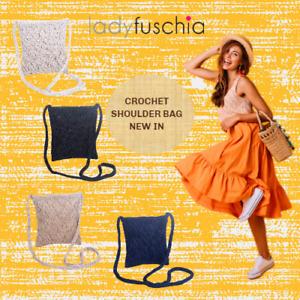 SYD Women Fashion Shoulder Crossbody Knitted Crochet Casual Smart Essential Bag