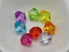 50 Mixed Colour Transparent Acrylic Faceted Bicone Beads 14mm