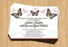 10 BUTTERFLY Birthday Party Bridal Shower Personalized Invitations ANY COLOR