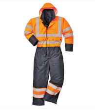 Portwest Hi Vis Lined Contrast Coverall Overall Waterproof Winter Workwear S485