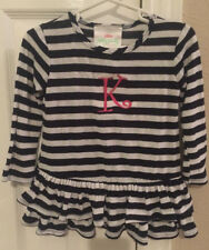 "Lolly Wolly Doodle Long Sleeve Navy & White Ruffle Top W/Pink ""K"" *Used (18-24M)"