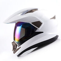 Dual Sport Motorcycle Motocross MX ATV Dirt Bike Full Face Helmet Glossy White