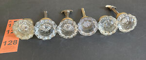 Lot of 6 vintage antique glass Crystal 12 Point Side Door Knobs With Spindles