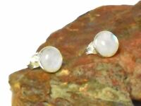 Rainbow MOONSTONE  Sterling Silver 925 Gemstone Earrings / STUDS - 8 mm